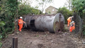 To the rear of the site a large tank was uncovered